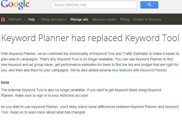 keyword planner notice
